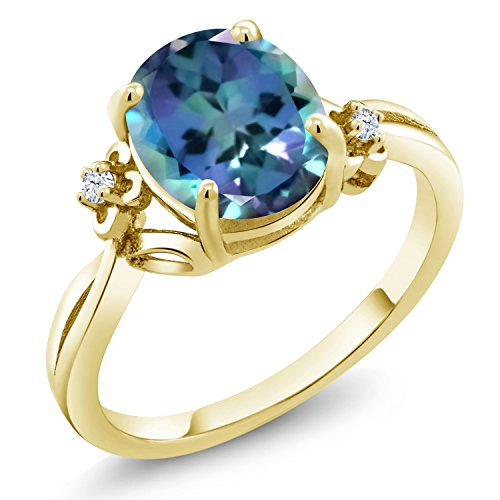 Gem Stone King 0.03 Ct Oval Millennium Blue Mystic Topaz 18K Yellow Gold Plated Silver Ring (Size 6)
