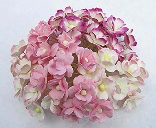 100 pcs. Blossom Flower Pink Tone Mulberry Paper Flower 20-25 mm Scrapbooking Wedding Doll House Supplies Card by' Thai Decorated