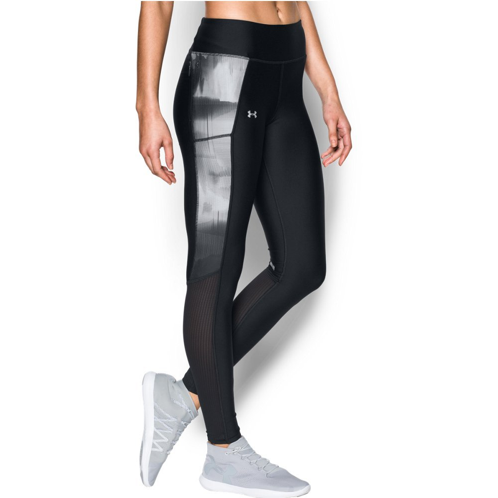 Under Armour Women's Fly-By Printed Legging,Black /Reflective, X-Small by Under Armour