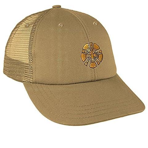 Chief Embroidery Design Low Crown Mesh Golf Snapback Hat Khaki (Chief Head Snapback)