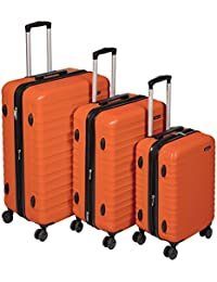 "AmazonBasics Hardside Spinner Luggage - 3 Piece Set (20"", 24"", 28""), Naranja"