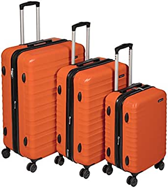"""AmazonBasics Hardside Trolley Luggage - 3 Piece Set (20"""", 24"""", 28""""), Orange"""