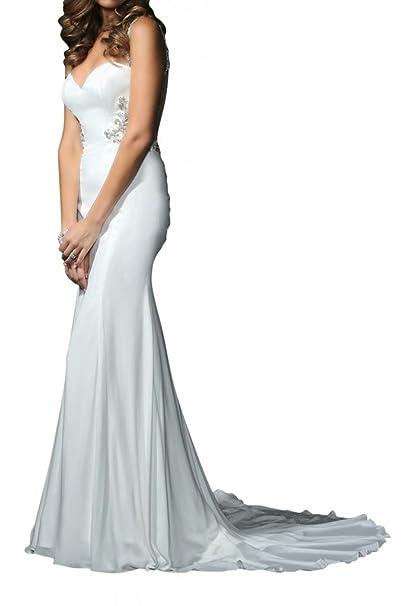 Toskana novia estilo completo sirena Vestidos de novia largo gasa Princesa Boda Novia Mode blanco 2