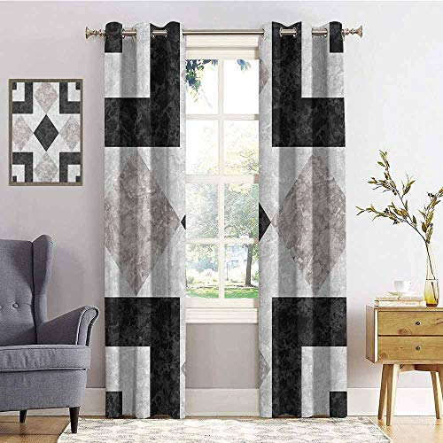 Marble Blackout curtains - gasket insulation Nostalgic Marble Stone Mosaic Regular Design with Alluring Elements Artwork Print Blackout curtains for the living room W84 x L108 Inch Black Beige