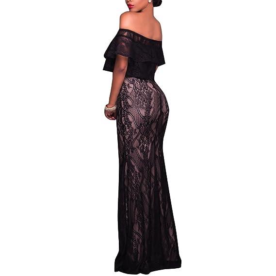 Synker Damen Schulterfrei Blumen Spitzenkleid Bodycon Cocktailkleid  Partykleid lang Abendkleid (Medium, Black)  Amazon.de  Bekleidung 72ca2f03a3