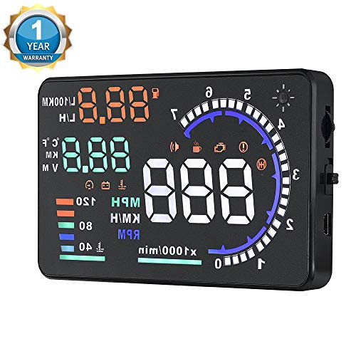 "Qiilu A8 Head Up Display,5.5"" OBD II Car Windshield HUD with Speed Fatigue Warning RPM MPH Fuel Consumption Multiple-Color Bright"