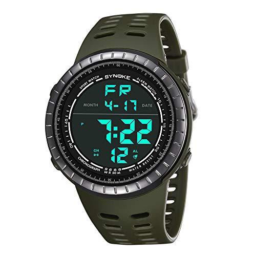 chengzhijianzhu_ Sport Watches Multi-Function 50M Waterproof Watch LED Digital Double Action Watch Outdoor Stopwatch Smart Watches Green