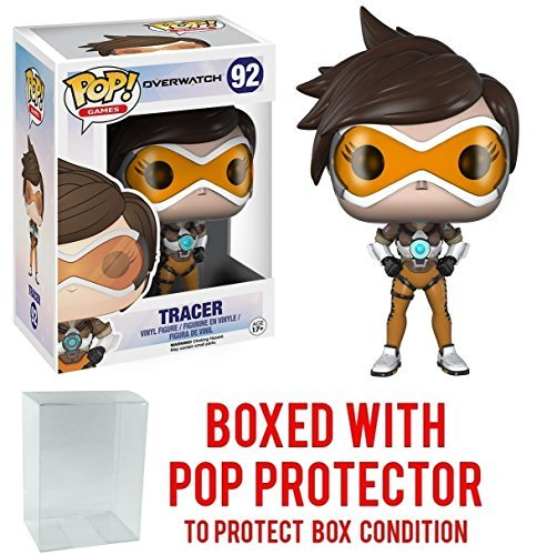 Funko Pop! Games: Overwatch - Tracer Vinyl Figure (Bundled with Pop BOX PROTECTOR CASE)