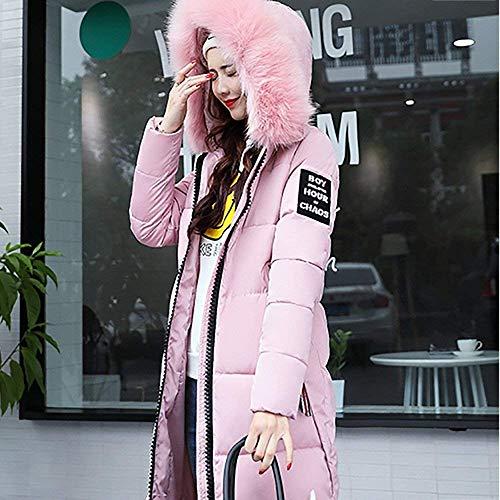 Coton de avec Zipp Tomwell Grande Hiver Doudoune Femme Taille Duvet Longue Manteau Doudoune Fourrure Rose Capuche U4wPwAq