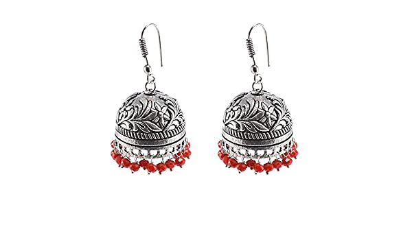 Silvesto India Indian Classical Designed Traditional Vintage Jhumkis With Red Crystal Facetes Beads PG-101480