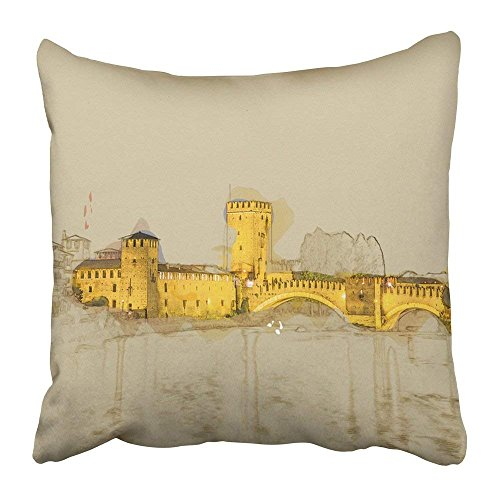 Throw Pillow Covers Print 18 x 18 Inch Adige Castle Vecchio at Summer Night in Verona Italy Modern Painting Brushed Artwork Based on Brick Square Zipper Polyester Home Sofa Decorative -