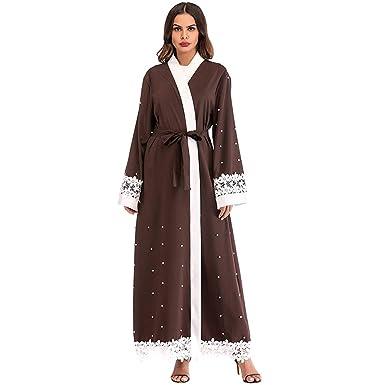 RISTHY Vestido Abaya Musulmana Maxi Vestidos Color Sólido Mujeres Largos Musulmán Cardigan Casual Batas Largas Vestidos de Oficina Informal para Las Mujeres ...