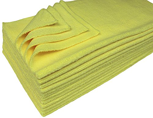 Detailers Preference Eurow Ultrasonic Cut Maximum Absorption Premium Cleaning Towels 350gsm Yellow 16 x 16 Inches 12 Pack