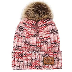 Fashion Women's Winter Wool Ball Tie Dyed and Velvet Thick Knit Hat