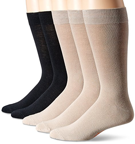 Dockers Men's 5 Pack Classics Dress Flat Knit Crew Socks