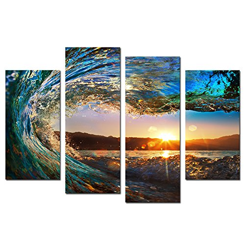 Cao Gen Decor Art 4 panels Wall Art Waves Painting on Canvas Stretched and Framed Canvas Paintings Ready to Hang for Home Decorations Wall Decor (Bar Decor Art)