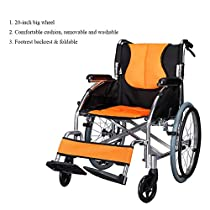 Portable Light Weight Wheelchair Foldable Transport Chair Airplane Comfortable Detachable for Elderly Disabled Adult People, Double Storage Bag (20 inch Tire)