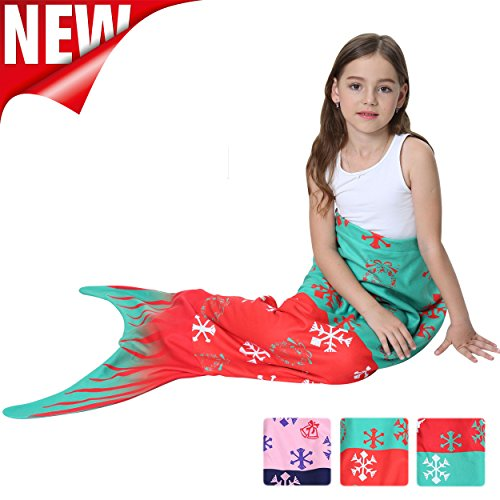 Mermaid Tails Blanket For Girls Flannel Soft Warm All Seasons Sleeping Bags Best Great Gift for Friends family Apply to Bedroom Sofa Beach outdoor (B-snowflake)