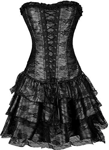 [Pandolah Sexy Lingerie Fashion Lace up Corset Bustier Tutu Petticoat Skirt (US Size 10-12 (2XL),] (Fallen Angel Costume)