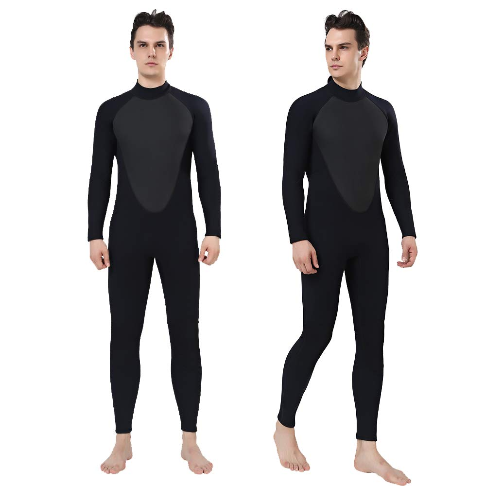 Realon Wetsuit Men Full 2/3mm Surfing Suit Diving Snorkeling Swimming Jumpsuit (2/3mm Black, 3XL) by Realon (Image #1)