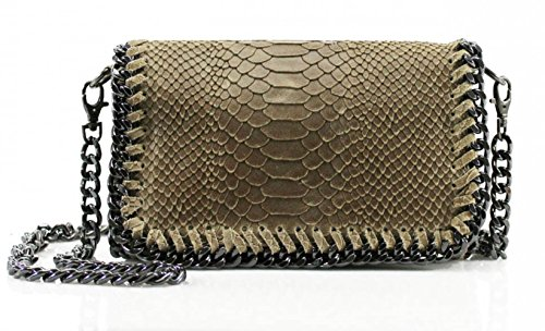 Genuine Body Handbags Brand Italy Nice Trim Chain LeahWard KHAKI Bags Cross Leather VPS00 SNAKESKIN Great Eq4Yz
