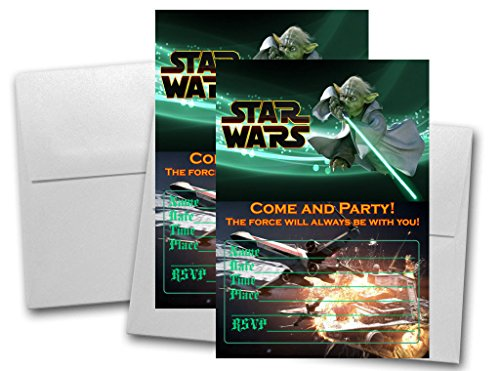 12 Star Wars Birthday Invitation Cards (12 White Envelops Included) #1 -