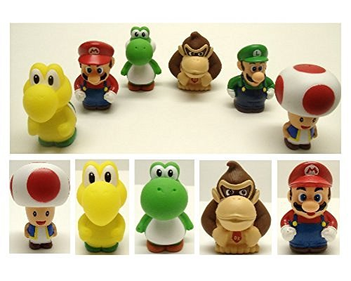 - Super Mario Brothers 6 Piece Bath Play Set Featuring Mario, Luigi, Koopa Troopa, Yoshi, Donkey Kong, and Toad