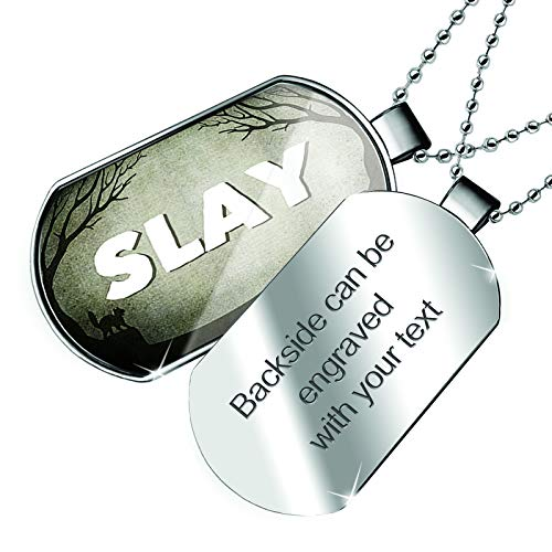 NEONBLOND Personalized Name Engraved Slay Halloween Graveyard Dogtag Necklace]()
