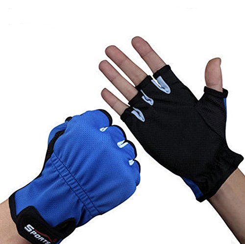 Luwint Sports Lightweight Fishing Gloves - Outdoor Quick-Drying Breathable Fingerless Gloves for Men Women, Medium, 1 Pair (Blue Black)