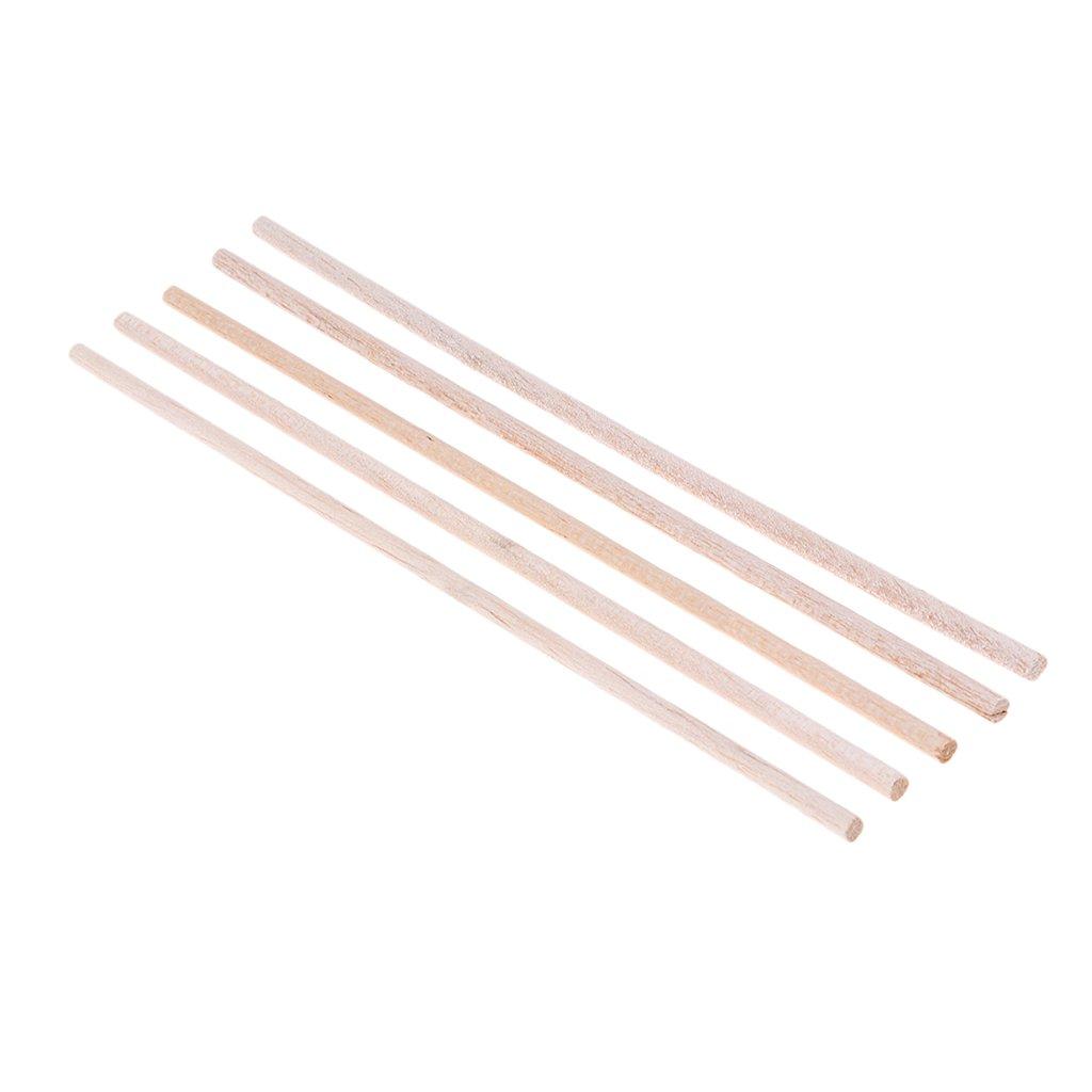 Homyl Bastone Di Legno Di Balsa Rotondo Di 5pcs 6mm * 250mm Per La Disposizione Della Tabella Della Sabbia Della Costruzione Di Modello