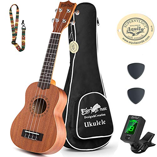 Learn to Play Ukulele Soprano Starter Kit - Satin Mahogany Professional Uke - 21 inch w/Case Strap Digital Tuner Aquila Strings (Learn To Play Guitar Package)