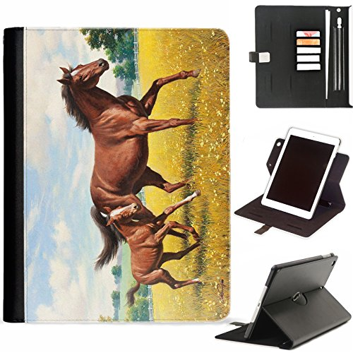 Hairyworm - Brown Horse and Foal Apple iPad Mini 4 leather side flip wallet 360 swivel case, folio cover with Apple pencil / pen holder, card slots, paper slot, metal buckle, stand points