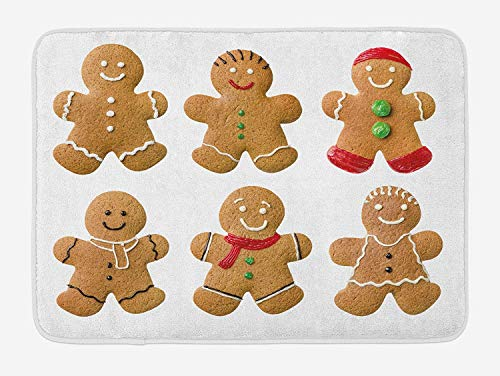 Gingerbread Man Bath Mat, Vivid Homemade Biscuits Sugary Xmas Treats Sweet Tasty Pastry, Plush Bathroom Decor Mat with Non Slip Backing, 23.6 W X 15.7 W Inches, Pale Brown Red Green]()