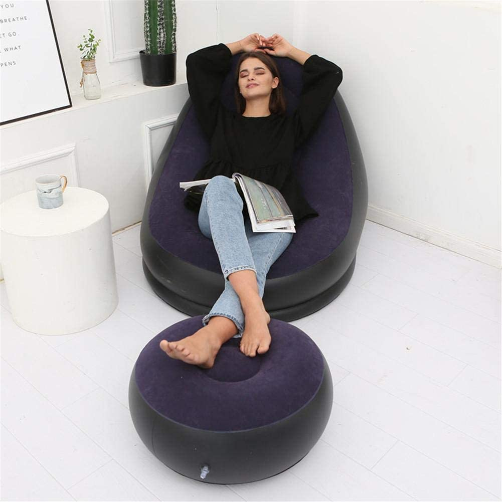 Whewer Lazy Inflatable Sofa Set Flocking Inflatable Lounge Chair and Ottoman Soft Inflatable Stool Portable Blow-up Seat Leg Rest Beanbag