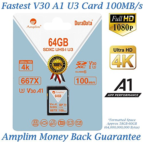 Amplim 64GB SDXC SD Card (V30 A1 U3 UHS-I Class 10 Extreme Pro) 64 GB Ultra High Speed 667X 100MB/s UHS-1 XC Flash Memory Storage for HD/UHD/4K Videos – Camera, Computer, Camcorder. 64G New Feb 2018