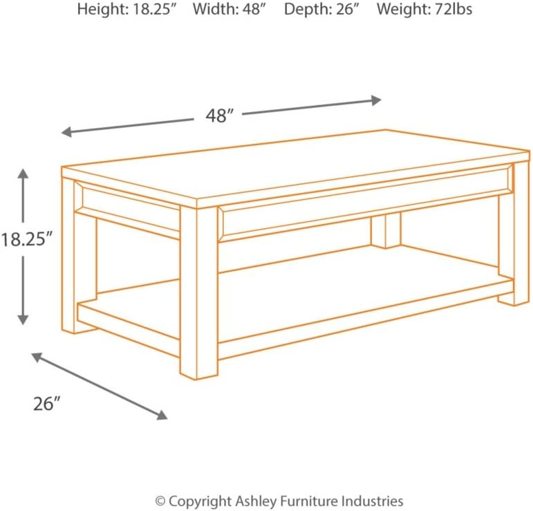 Signature Design by Ashley - Gavelston Coffee Table w/ Fixed Shelf, Rubbed Black Finish