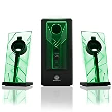 GOGROOVE BassPULSE Computer Speakers Stereo Sound System with LED Glow Lights and Dual Drivers-Works with PC and Apple Desktop, Laptop Computers, Green