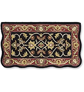 handtufted fire resistant scalloped wool hearth rug in blackred - Hearth Rug