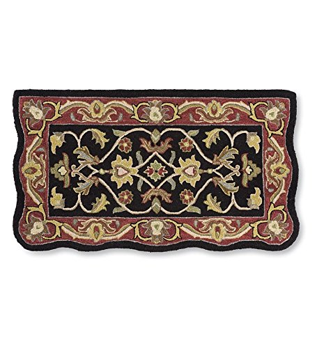 Rectangular Hand Tufted Fire Resistant Scalloped Wool Fireplace McLean Hearth Rug 25 W x 45 L Black Red