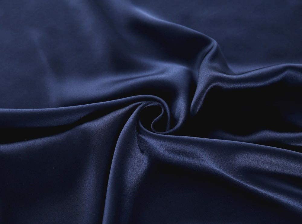 100% Pure Mulberry Silk Pillowcase Standard Size 21 Momme 600 Thread Count For Hair And Skin With Hidden Zipper, Hypoallergenic Soft Breathable Both Sides Silk Pillow Case, 20×26inches, Navy Blue Home & Kitchen