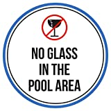 No Glass In The Swimming Pool Area Spa Warning Round Sign, Plastic - 9 Inch