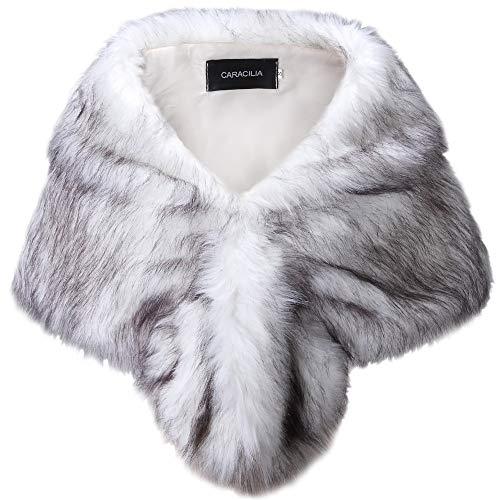 Collar Dinner Shawl Jacket (Caracilia Faux Fur Shawl Wrap Stole Shrug Winter Bridal Cover Up heibaijian L CA95)