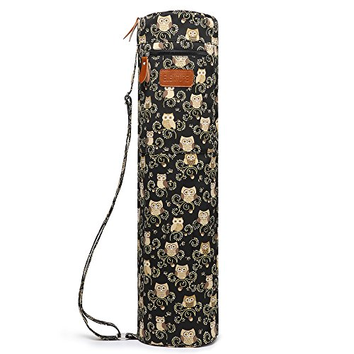 ELENTURE Full-Zip Exercise Yoga Mat Carry Bag with Multi-Functional Storage Pockets (Owl)