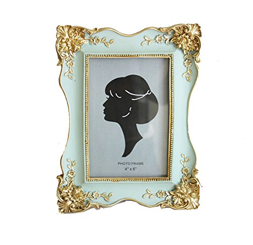 SIKOO Vintage Picture Frame 4x6 Family Photo Frame for Home Decoration (Green) (Photo Vintage Frames)