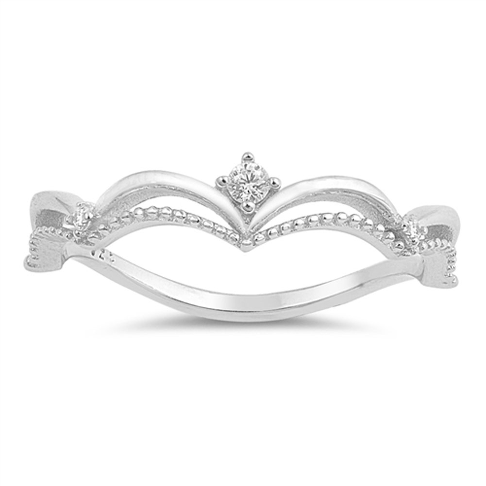 White CZ Tiara Wave Solitaire Accent Ring .925 Sterling Silver Band Size 7