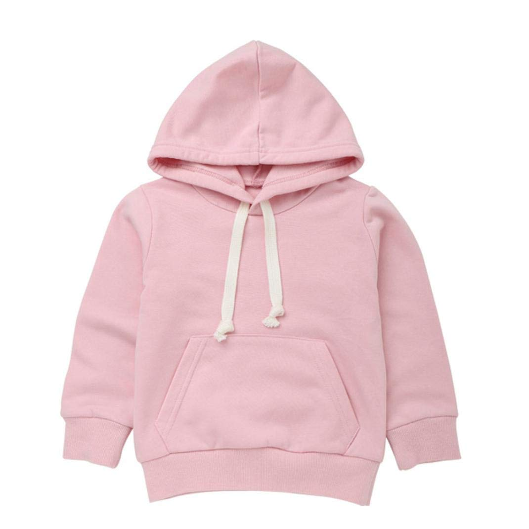 SCSAlgin Toddler Infant Baby Boys Girls Hooded Sweatshirt Long Sleeve Tops Pullover Blouse Outfits (Pink, 1T)