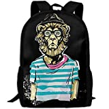 Lion Sir Double Shoulder Backpacks For Adults Traveling Bags Full Print Fashion