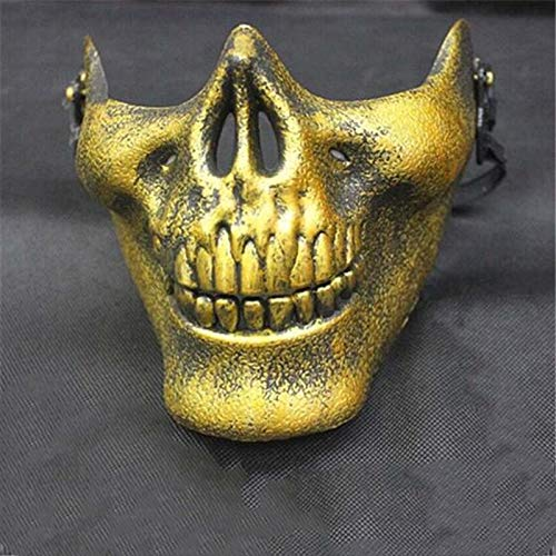 Leoie Halloween Party Cool Skull Full Face Mask Bike Motorcycle Outdoor Game CS Sports Protective Wear Gold -