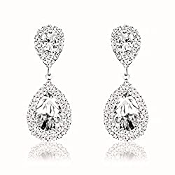 Crystal Rhinestone Teardrop Dangle Earrings