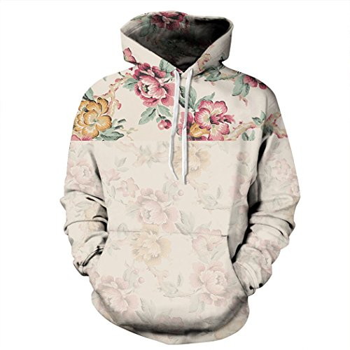 Sankill Unisex Realistic 3d Digital pullover sweatshirt Hoodie Hooded Sweatshirt S-3XL l/xl-retro flower